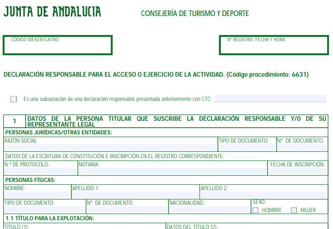 Declaración responsable vivienda turística Andalucía